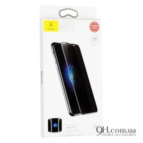Защитное стекло Baseus Soft Edge Anti-Peeping для iPhone X / XS White (0.23 mm)