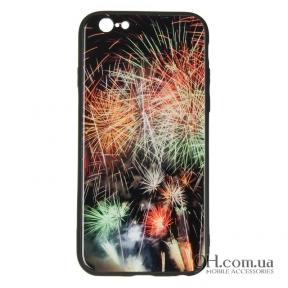 Чехол-накладка iPaky Glass Print для iPhone 6 / 6s Fire