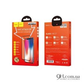 Защитное стекло Hoco Fast Attach 3D для iPhone X / XS Black