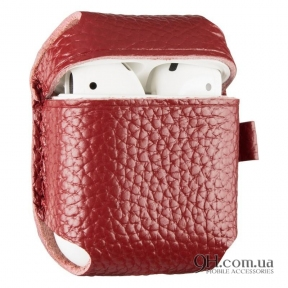 Чехол Leather для AirPods Red