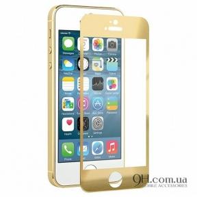 Защитное стекло Full Screen 3D для iPhone 5 / 5s  / 5c / SE Gold