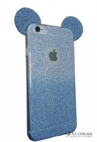 Чехол-накладка с блестками Mickey Mouse для iPhone 6 / 6S Blue